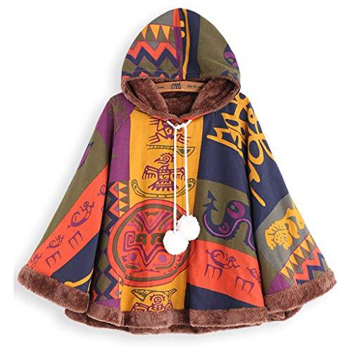 POIUDE Damen Bluse Frauen Vintage Fledermausärmel Lose Drucken Ethnischen Kapuze Drawstring Kap-Schal Poncho Mantel(Gelb, M)