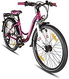 Prometheus Kinderfahrrad 24 Zoll Jungen Mädchen Alu Fahrrad Lila Rosa ab 8 Jahre mit 21-Gang Gangschaltung - 24zoll BMX Modell 2019