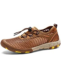 b1b0ee69d9f Baskets respirantes à la mode en mesh pour hommes Chaussures de marche à  lacets élastiques avec fermeture à glissière élastique Slip Casual…
