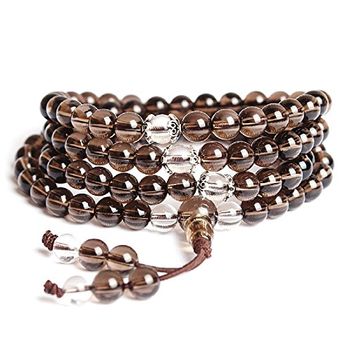8mm Bracelet Mala/Collier Bouddhiste 108 Perles Mala Pierres Naturelles Quartz Fumé Cristal de Roche Unisexe Design à la mode