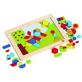 Tooky Toy – Lavagna magnetica con fogli di sfondo intercambiabili – Forme geometriche magnetici in legno