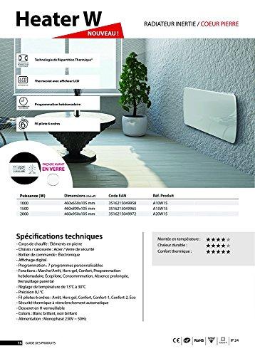 Jarpa 49590 Radiateur à inertie Céramique Verre LCD 1000 W Blanc