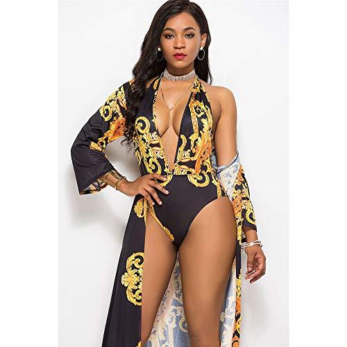 HUIKEYI Damen Badeanzug, Bademode, Bademode, Umhang + Bikini (Schwimmen Kostüm Verkauf)