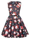 Kate Kasin Niña Vestido Elegante de Cóctel Vestido Vintage con Papa Noel de Navidad 10 Años KK834-1