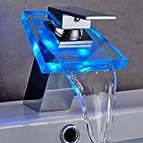Auralum® RGB Messing und Glas LED Wasserhahn Waschtisch Spüle Waschtischarmatur Armatur für Bad Badenzimmer Waschbecken (Typ C)
