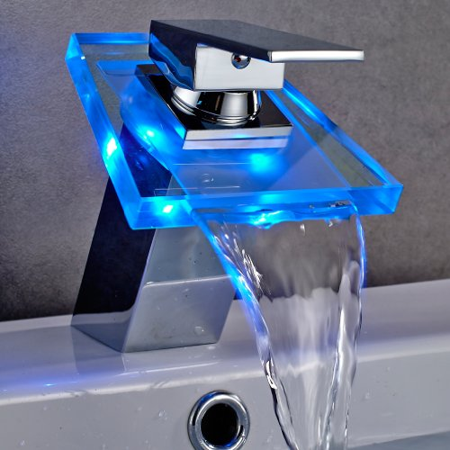 Auralum® Elegant LED RGB Glass Wasserhahn Armatur Chrom Wasserfall Waschtisch Waschtischarmatur für Bad Badezimmer Küchen 3 Farben