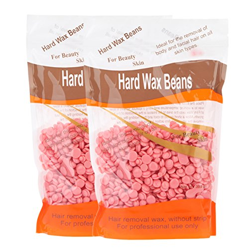 Vitang Hard Wax Beans for Face, Underarms, Brazilian, Bikini Hair Remover  10 6 Ounce, Pack of 2 (Rose)