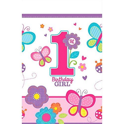 Amscan Tischdecke * 1. BIRTHDAY GIRL * für den ersten Geburtstag//Sweet Mädchen erster Kindergeburtstag Deko (Cut-karte Die)