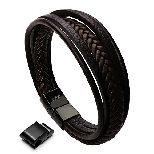 xikeo Leather Bracelet For Men, Mens leather Bracelet Cowhide Braided Multi-layer Wrap Mens Bracelet, 8.7'' (brown 1)