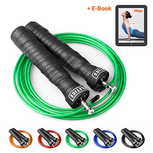 Joyletics Springseil Speed Rope Fitness Premium + e-Book | mit Profi Kugellager-Gelenk und Verstellbarer Seillänge | Inklusive Aufbewahrungstasche und Ersatzseil in grün