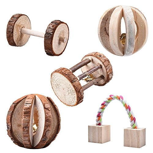 Leisuretime 5 Stücke Pet Spielzeug Set Kleine Haustiere Holz Kauen Spielzeug Kiefer Dumbells Einrad Glocke Roller Kauen Spielzeug Für Katze Kaninchen Hamster Ratte (5 pcs)