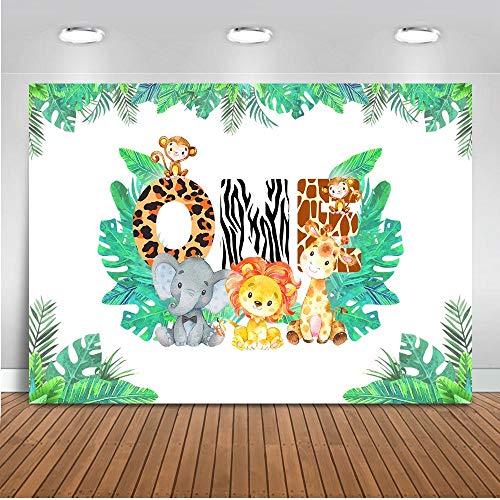 Mehofoto 1st Birthday Backdrop 7x5ft Vinyl Wild Forest Dschungel Safari Photo Booth Backdrops Elefant AFFE Baby Shower Fotografie Hintergrund -