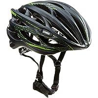 Uvex, Race 1, Casco per bici da corsa, Nero (Black Mat/Shiny), 55-59 cm