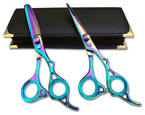 mince cheveux Ciseaux de coupe et de ciseaux de coiffeur Barbier Salon Coiffure Ciseaux en acier japonais 15,2 cm avec étui de Rasoir en titane EDGE2