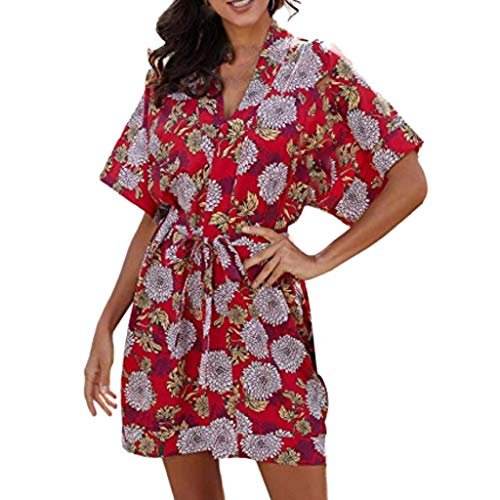 KItipeng Damen Blumendruck Nationaler Stil Strandkleid Sexy V-Ausschnitt Sommerkleider Kurze Ärmel Partykleid Wickelkleid