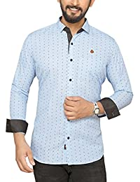 PP Shirts Men Sky Blue Coloured Shirt With Roll-Up Sleeve