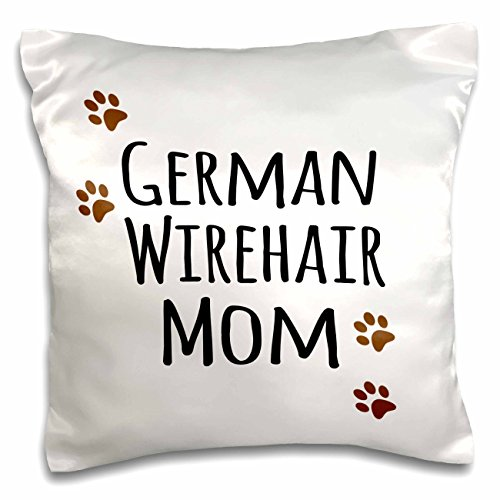 InspirationzStore Pet designs - German Wirehair Dog Mom - Wirehaired Pointer - Doggie by breed - brown paw prints doggy lover mama - 16x16 inch Pillow Case (pc_154124_1) (German Wirehair Pointer)