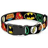 Buckle Down Justice League Superhelden Logos Nahaufnahme Schwarz Kunststoff Clip Halsband