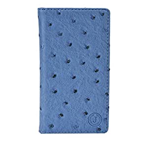 J Cover Croc Series Cover Leather Pouch Flip Case For Samsung Galaxy Wide Light Blue