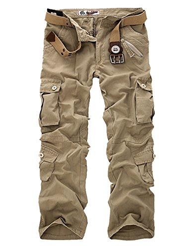 Menschwear Herren Cargo Hosen Freizeit Multi-Taschen Military pantaloni Ripstop Cargo da uomo (38,Khaki) (Khaki Boys-cargo-shorts Baby)