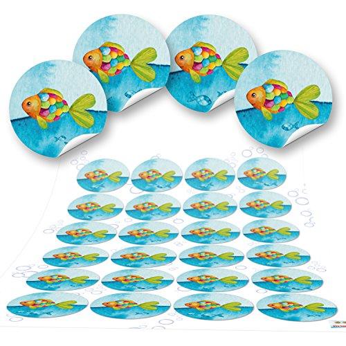 96 kleine 4 cm FISCHE maritime Aufkleber rund Kinderaufkleber blau türkis Kinder Sticker Taufe Kommunion Geschenkaufkleber Verpackung Regenbogen-Fisch Etiketten Tisch-Deko