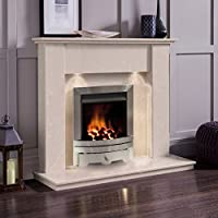 Cream Marble Stone Surround Gas Fireplace Suite Silver Inset Fire & Downlights