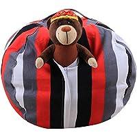 Preisvergleich für Plüsch Große Kapazität Hause Speicher Sitzsack Kinder Spielzeug Aufbewahrungstasche Multi-Größe Spielzeug Perfekte Aufbewahrungstasche Vertikale Streifen,26In