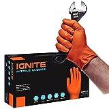 Guantes de nitrilo de alta resistencia IGNITE sin polvo de color naranja, L, naranja, 1