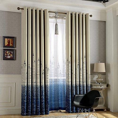 Tangbasi castello porta finestra tenda oscurante Drapes velato divisore parasole da letto Decor, Poliestere, Blue, taglia unica