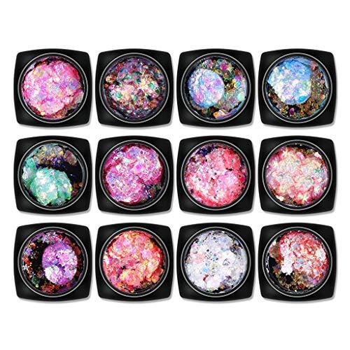 masrin Chunky Glitter Mixed Flake Body Art Nagel Haar Gesicht Lidschatten Körper Make-up (Mehrfarbig)
