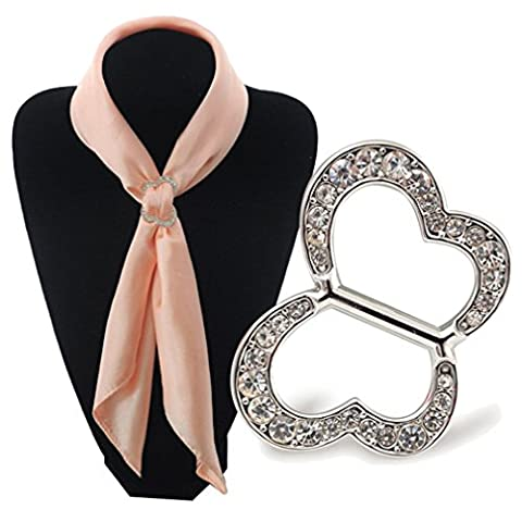 Sewanz Women's Charm Butterfly Metallic Scarves Buckle, Diamante Silk Scarf Clips