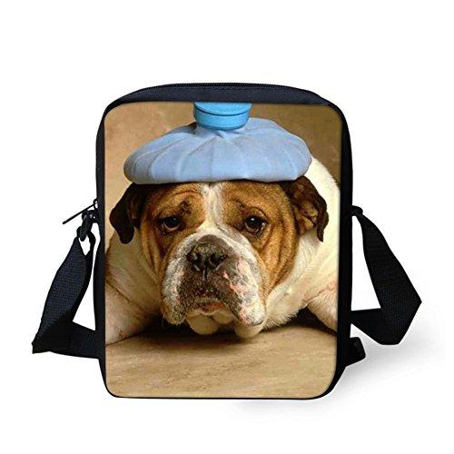 CHAQLIN Borsa Messenger, black pug (bianco) - CHAQLIN Funny bulldog