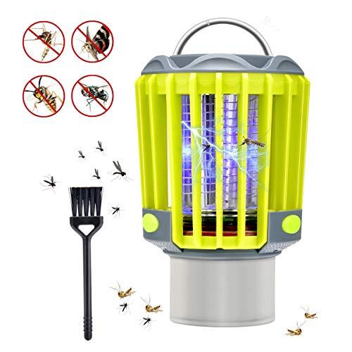 Hisome Moskito Killer Licht, 3 in 1 Bug Zapper IP67 Wasserdicht Elektrisch Mückenfalle UV Insektenvernichter mit Campinglampe und Taschenlampe Mückenlampe Camping LED Laterne für Innen und Außen