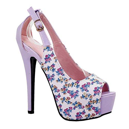Voir l'établissement histoire Peeptoe violet/blanc Floral plate-forme Stiletto Slingback pompes, LF80841 Violet