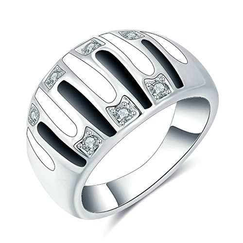 Gnzoe Gioielli,Placcato argento Moda Tondo Largo Dome Anello con CZ Argento Anello per Donna Dimensione 15