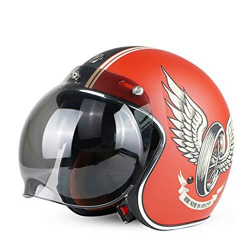 Mdsfe Classic Open Helm Retro Jet Helm Retro Motorradhelm Bubble Sonnenblende Rotes Pferd Bubble XXL