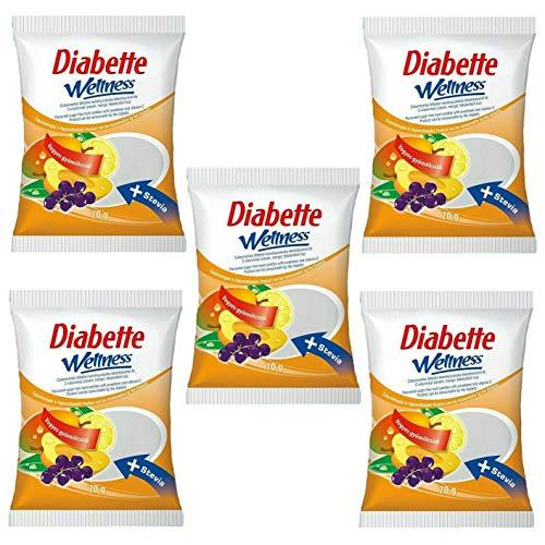 Diabette Wellness Fruchtmix Bonbons mit Stevia und C-Vitamin, Geschmack: Zitrone, Mango und Schwarze Johannisbeere, Zuckerfreie, ungefüllt Bonbons 5erPack(5x70g) - Schwarze Bonbons Johannisbeere