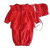 Bekleidung Longra Neugeborenes Baby jungen Mädchen Mütze Hut + Spitze Strampler Overall Bodysuit Kleidung Set Outfit(0 -9 Monate) (60CM 2-4Monate, Red)