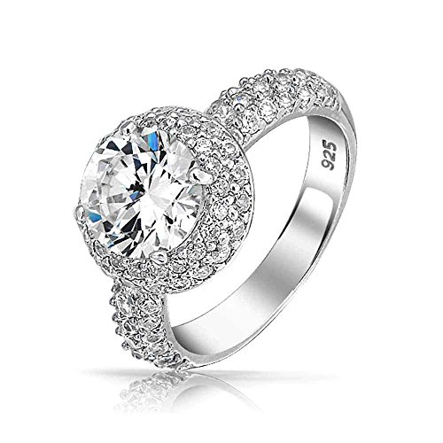 2ct CZ Round Pave Band 925 Sterling Silver CZ Engagement Ring with - Ring Engagement Cz 2ct