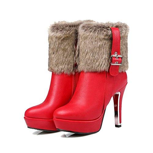 AgooLar Damen Hoher Absatz Blend-Materialien Rein Reißverschluss Rund Zehe Stiefel, Rot, 39
