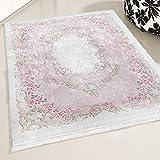 mynes Home Teppich Rose Waschbar Shabby Chic Landhausstil Designer Teppich Küche Wohnzimmer Bad etc. Waschmaschinengeeignet Vintage Design rutschhemmend (80x150)