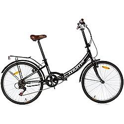 "Moma Bikes Plegable Ruedas 24"" Shimano. Aluminio Bicicleta, Unisex Adulto, Negro No"