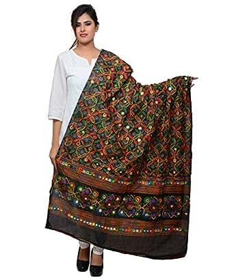 Banjara India Women's Cotton Embroidered Kutchi Dupatta Rasna (Black)
