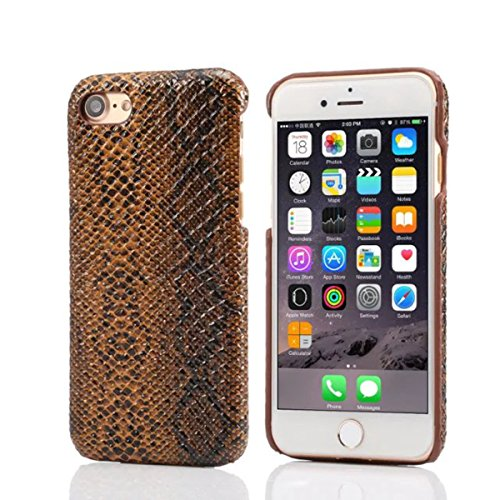 "iPhone 7 Plus Coque Dur Case Fine Mince Style Poids léger, Etui Apple iPhone 7 Plus 5.5"", Original Désign 3D Lifelike Peau de serpent Relief Anti Choc Housse de Protection pour iPhone 7 Plus Marron"