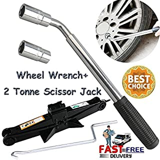 AutoFu 2 Ton Scissor Jack Wheel Wrench Speed Steel Handle 2T 1.4 Inch 360MM Height Car Van Wind Up Lift Jacks Rust-Proof