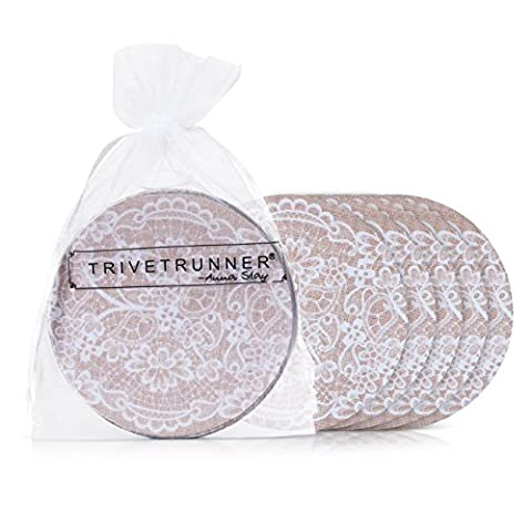 TRIVETRUNNER Coasters Set of 6 - Protect Furniture From Water Marks & Damage - Large 4 inch Size (Jute