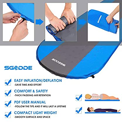 SGODDE Inflatable Sleeping Mat Camping Self Inflating Sleeping Pad with Pillow, Compact Lightweight Mattress Inflatable Roll Up Foam Bed Pads for Outdoor Backpacking Hiking 4