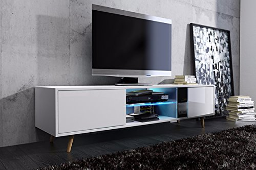 TV Meuble Rivano (blanc mat/blanc brillant) avec LED bleu