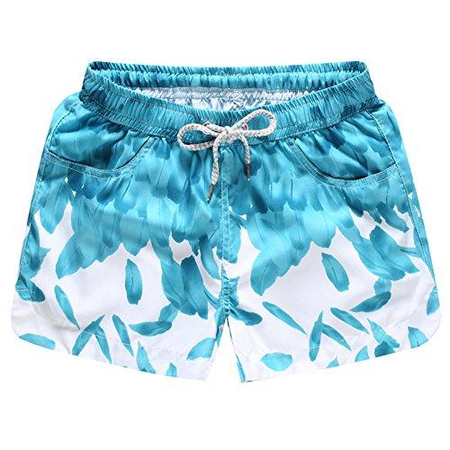 Brightup Frauen Mädchen Schnell Trocken Gedruckt Strand Shorts, Swim Shorts für Sommer Urlaub A
