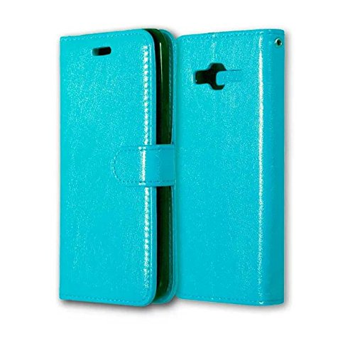 Wkae Case Cover Solid Color PU-Leder-Kasten mit Silikon-Abdeckung Magnetic Ständer-Fall-Abdeckung für Samsung-J3 2016 J320 J36 ( Color : Black , Size : Samsung J3 2016 J320 J36 ) Blue